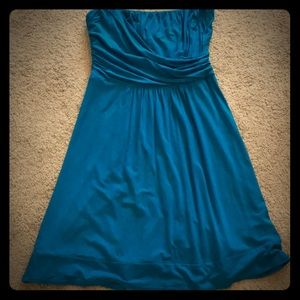Bright blue strapless dress